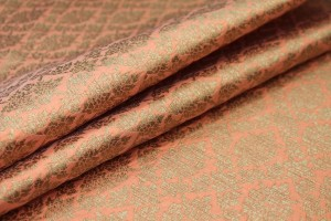 Peach and Gold Ornamental Brocade