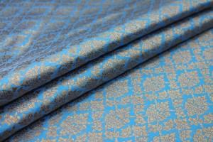 Bright Blue and Gold Ornamental Brocade