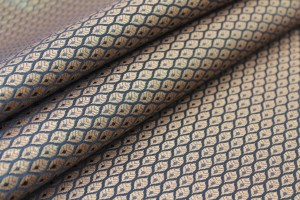 Banaras Brocade - Black / Gold Leaves