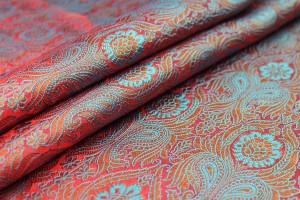 Banaras Brocade - Red, Blue and Gold