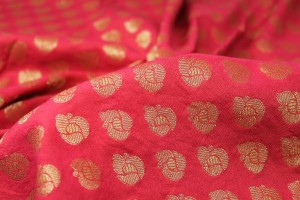 Indian Cotton Brocade - Red / Gold