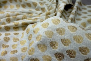 Indian Cotton Brocade - Ivory / Gold
