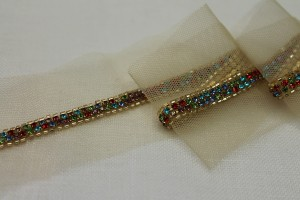 Beaded Diamanté Trim in Gold and Multi - Narrow Colourful