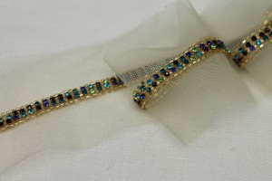 Beaded Diamanté Trim in Gold and Multi - Narrow