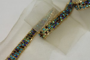 Beaded Diamanté Trim in Gold and Multi - Wide