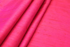 Textured Silk Dupion - Red shot Pink