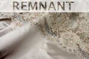 REMNANT - Beaded, Sequinned and Embroidered Oyster French Lace - 1.45m piece
