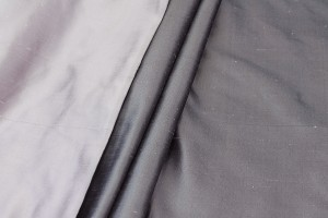 Silk Twill Backed Dupion - Lilac shot Black