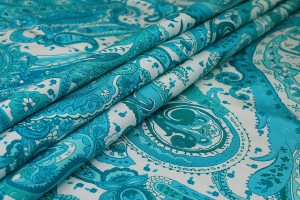 Printed Grosgrain - Turquoise on Pale Mint