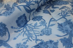 Printed Tulle - Blues on Ivory
