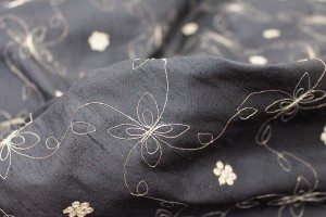 Black Silk Dupion w/ Simplistic Gold Embroidery