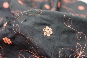 Black Silk Dupion w/ Simplistic Copper Embroidery