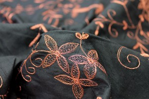 Black Silk Dupion w/ Detailed Copper Embroidery