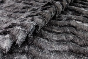 Cut Faux Fur Strips on Habotai - Black on Black
