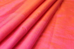 Silk Dupion - Orange shot Pink