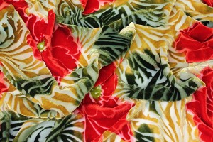 Silk Velvet Devore - Green and Gold with Red Flowers