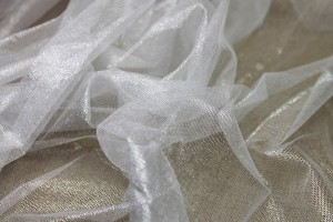 Foil Printed Silk Tulle - Silver on White