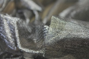 Foil Printed Silk Tulle - Silver on Black