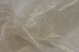 Foil Printed Silk Tulle - Gold on Ivory
