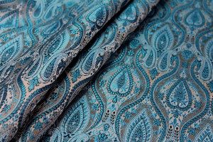 Banaras Brocade - Turquoise Blue and White