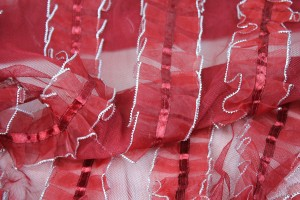 Deep Red Organza Ribbon Frills on Tulle
