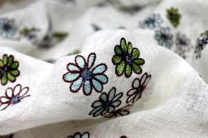 Ivory Sheer Linen with Floral Embroidery in Blue Green and Brown