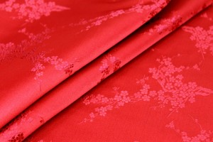 Chinese Brocade - Red w/Red Cherry Blossom