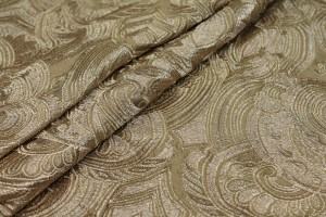 Heavy Swirl Embroidered Dupion - Gold Metallic and Gold
