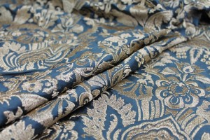 Heavy Jacquard Style Embroidery - Gold on Teal