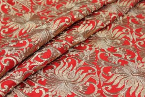 Gold Scroll Embroidered Dupion - Red