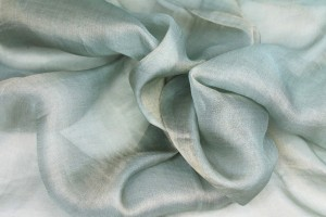 Silk Metallic Chiffon - Mint/Gold