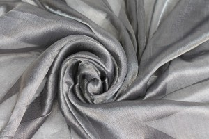 Silk Metallic Chiffon - Black Silver
