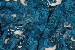 Corded Embroidered Tulle - Teal