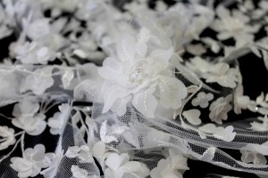 Beaded and Embroidered 3D Floral Tulle