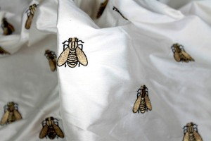 Silk Dupion Embroidered with Bees - Ivory / Gold
