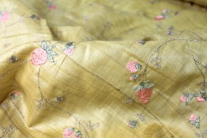 Pink Flowers Embroidered on Straw Yellow Tassar