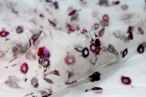 Floral Embroidered Daisies on Tulle - Pinks and Purples on Cream