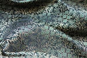 Banaras Brocade - Green and Gold on Black