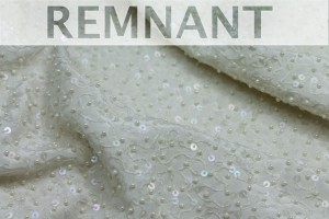 REMNANT - Beaded Silk - Off White with Ivory Pearls and Iridescent Sequins - 0.4m piece