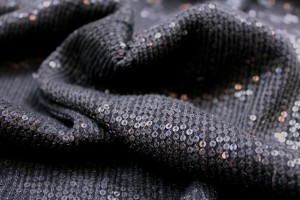 Micro Sequin On Silk Chiffon - Black