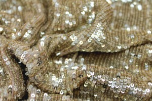 Overlapping Micro Sequin On Silk Chiffon - Gold