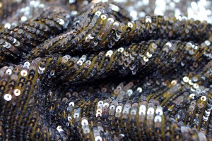 Overlapping Micro Sequin On Silk Chiffon - Anthracite / Olive