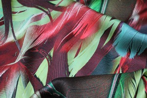 Silk Satin  - Red and Green Feather Print