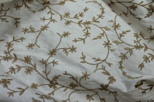 Embroidered Silk Dupion - Straw Gold Small Flowers On Ivory