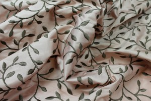 Embroidered Silk Dupion - Olive Leaves and Vines On Pink