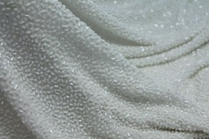 Beaded Silk Chiffon - Snow White with White Iridescent Beads
