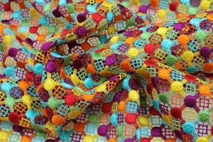 Multicolour cotton guipure lace - Brights