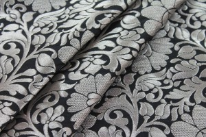 Black and Silver Metallic Floral Brocade