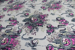 Printed Silk Fuji - Brown/ Pink