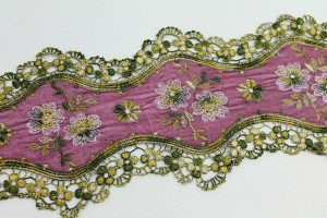 Pink Velvet Trim with Embroidered Flowers and Green Floral Lace
